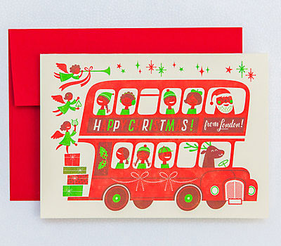 London Bus Letterpress Christmas Cards | Esther Aarts for Hello! Lucky