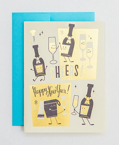 New Years Cheers Letterpress Cards | Esther Aarts for Hello! Lucky