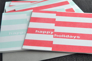 Holiday Stripes Letterpress Card | Farewell Paperie