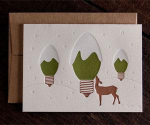 Lightbulb Tree Letterpress Card | Rise & Shine