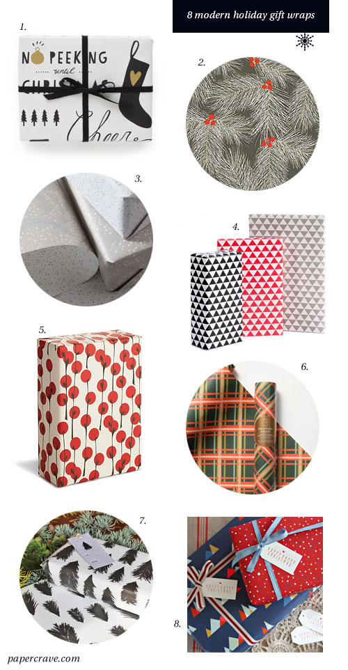 8 Stylish, Modern Holiday Gift Wraps as seen on papercrave.com