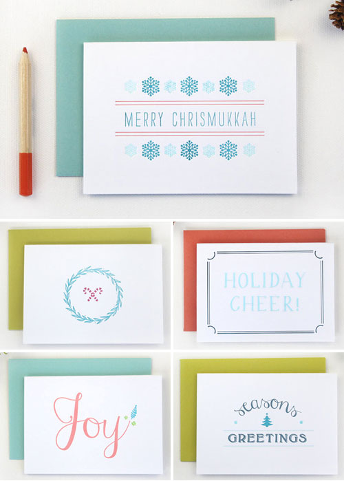 Modern Letterpress Holiday Cards | Rafftruck Designs