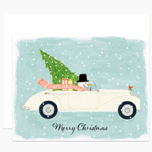 Snowman Driving Car Card | Dear Hancock
