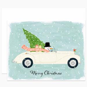 Snowman Driving Car Card   Dear Hancock
