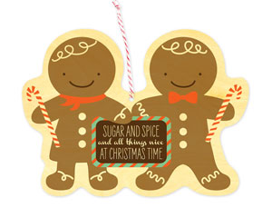 Gingerbreads Wood Card   Night Owl Paper Goods