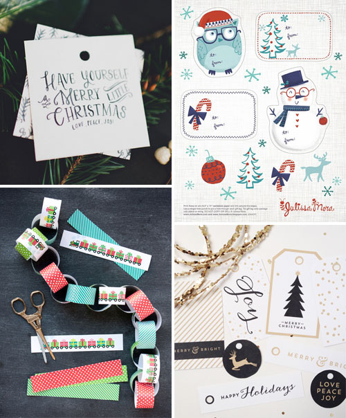 Free Printable Holiday Tags and Decorations as seen on papercrave.com