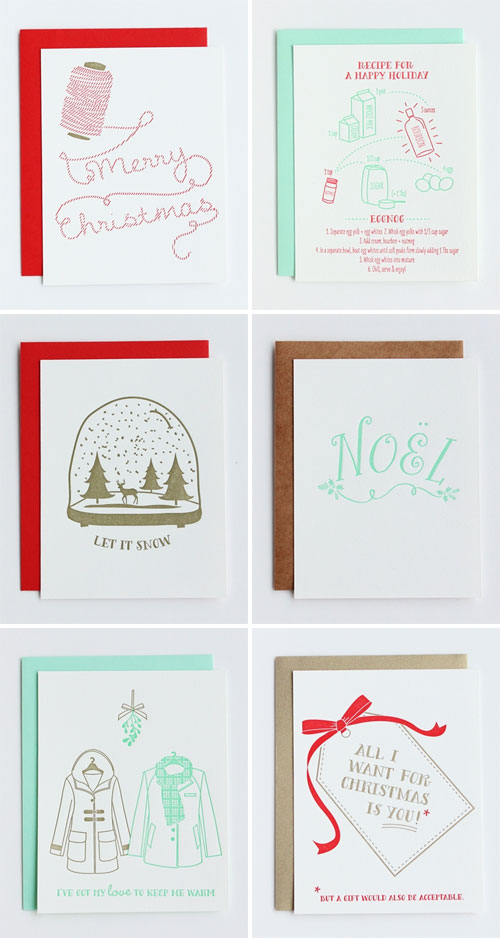 Inclosed Studio Mint, Red, and Gold Letterpress Holiday Cards