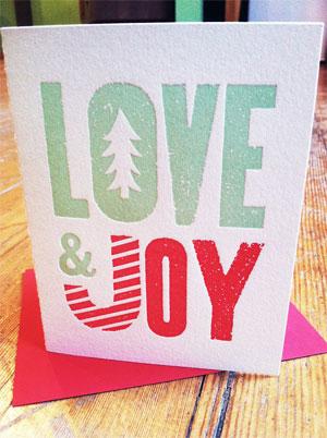 Love & Joy Letterpress Card | Neighborhood All Stars