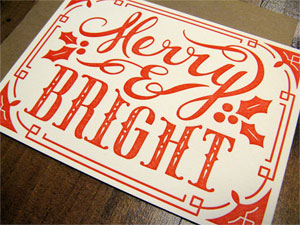 Merry & Bright Letterpress Flat Note | Niftyswank