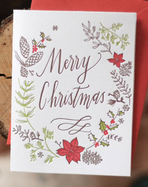 Merry Christmas Wreath Letterpress Card | Darling Press