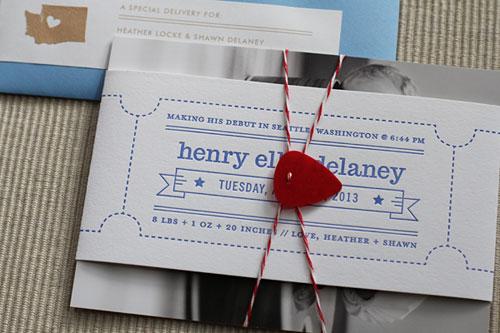 Letterpress Ticket Birth Announcements | Maida Vale