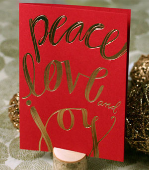 Peace Love and Joy Card   Spring Olive