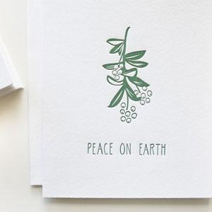 Peace on Earth Letterpress Card | Bears Eat Berries