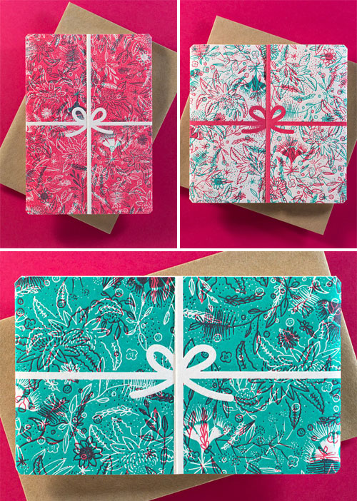 Floral Wrapped Letterpress Cards | The Hungry Workshop