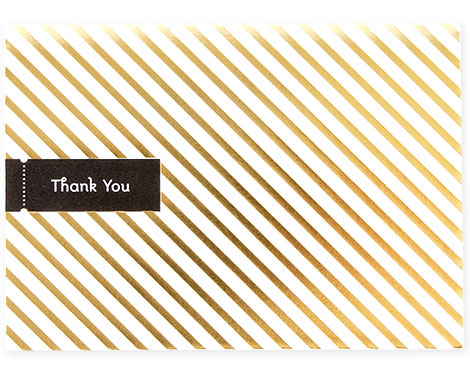 Stripe Gold Foil Stamped Thank You Card | Pei Design