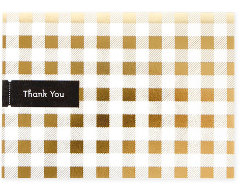Tartan Gold Foil Stamped Thank You Card | Pei Design