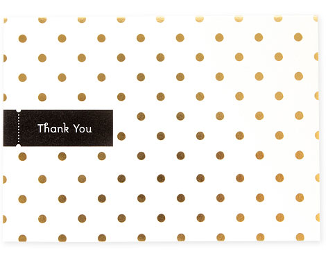 Dots Gold Foil Stamped Thank You Card | Pei Design
