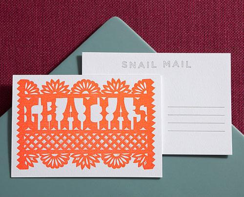 Gracias Linocut Letterpress Postcard | Lilco