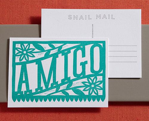 Amigo Linocut Letterpress Postcard | Lilco