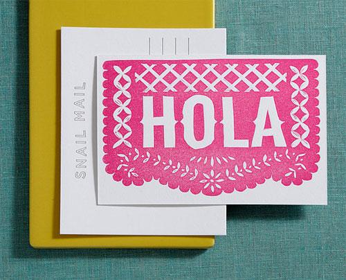 Hola Linocut Letterpress Postcard | Lilco