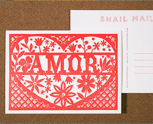 Amor Linocut Letterpress Postcard | Lilco