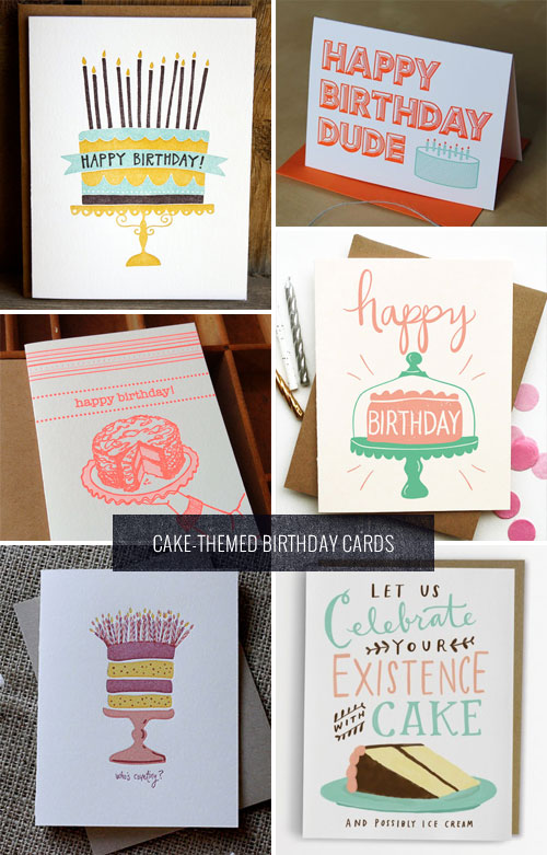 Cake-Themed Birthday Cards as seen on papercrave.com