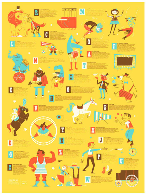 LE Circus Alphabet Print | Lydia Nichols (illustration) + 55 Hi's