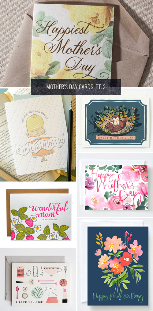Floral and Illustrated Mother's Day Cards as seen on papercrave.com