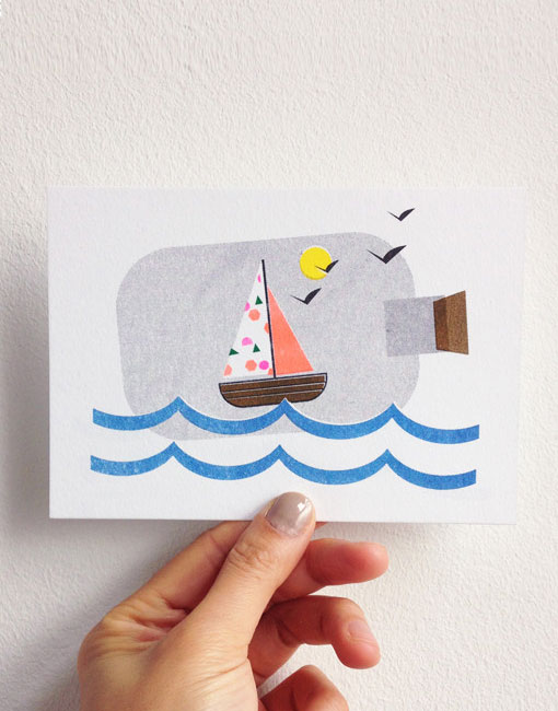 Sailboat in a Bottle Postcard | Scout Editions