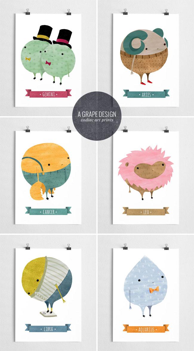 Illustrated Zodiac Art Prints | A Grape Design / Anna Grape