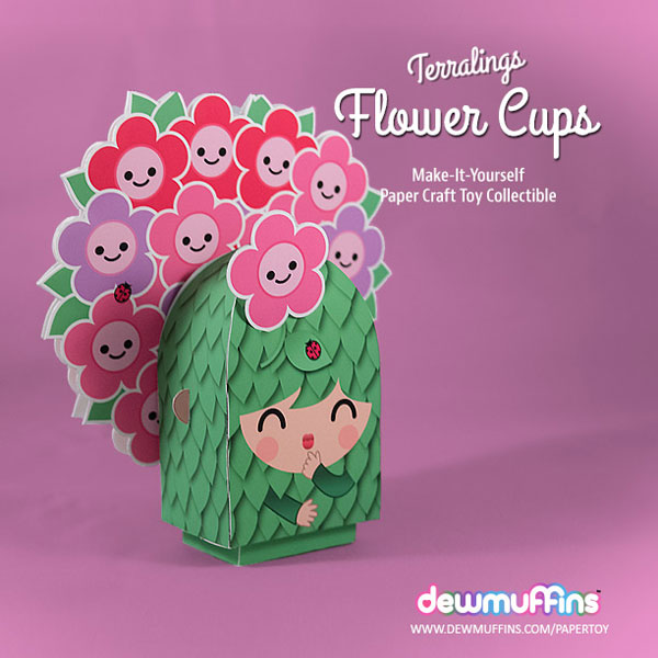 Flower Cups Paper Toy | Dewmuffins