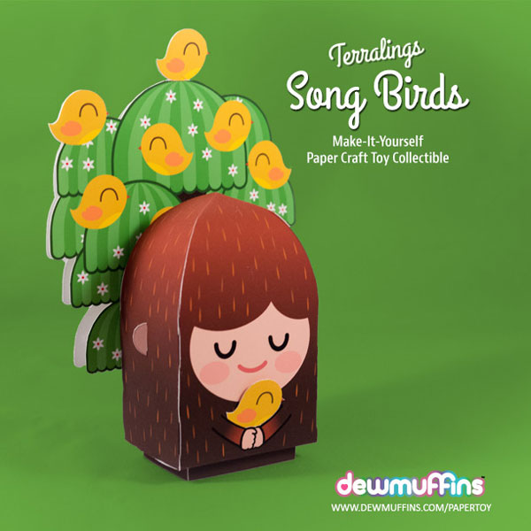 Song Birds Paper Toy | Dewmuffins