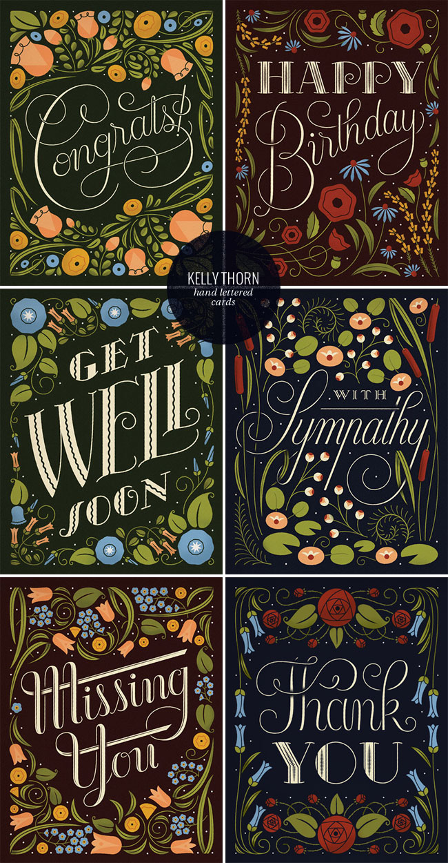 Hand Lettered & Illustrated Card Collection   Kelly Thorn for enormouschampion