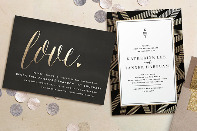 Modern, Gold Foil Pressed Wedding Invitations | Minted