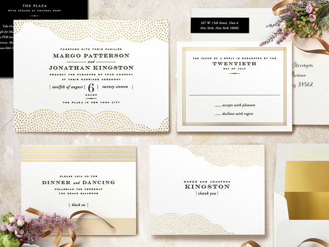 Gold Foil Pressed Wedding Invitation Suite | Minted
