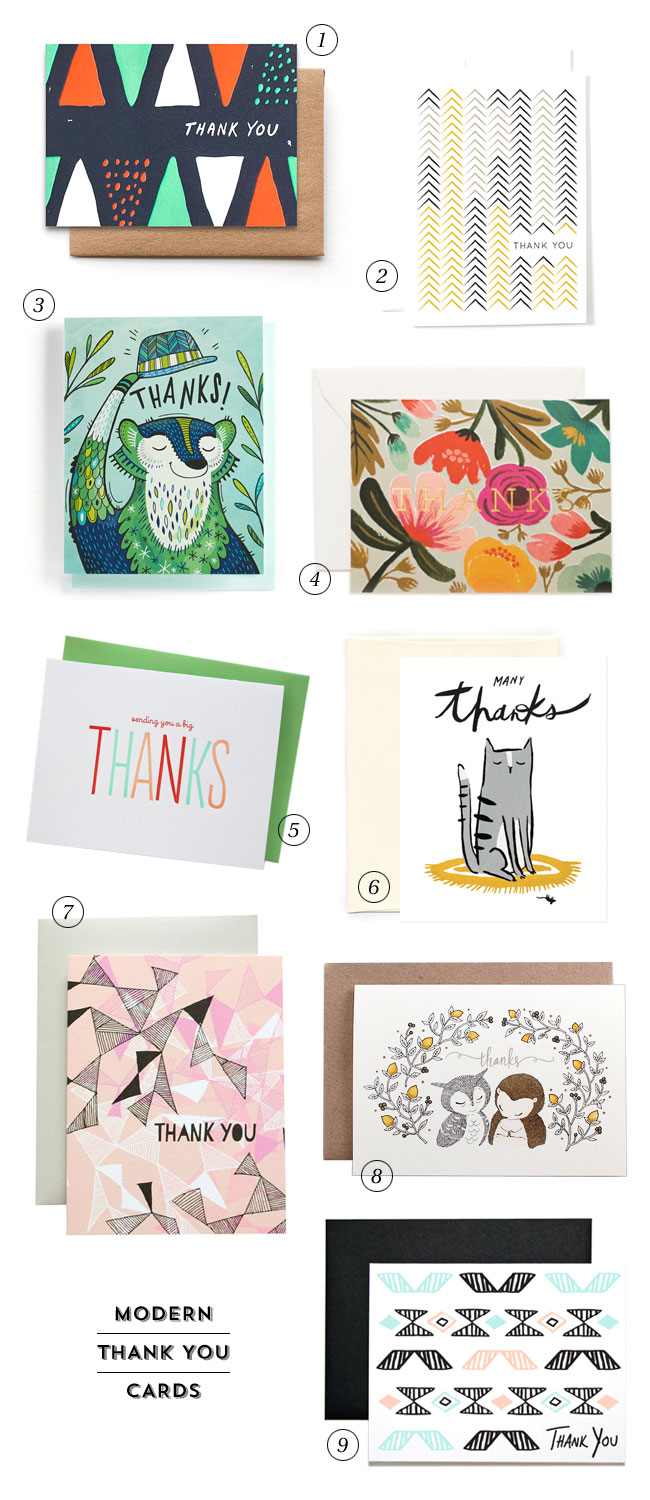9 Stylish, Modern Thank You Cards as seen on papercrave.com