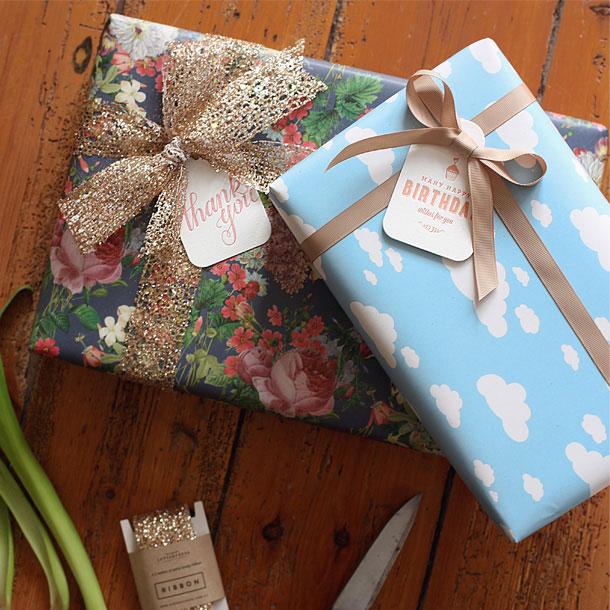 Vintage Garden & Clouds Gift Wrap | Bespoke Letterpress