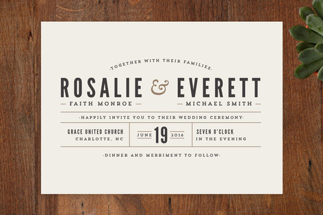 Classic Type Wedding Invitations by Pistols