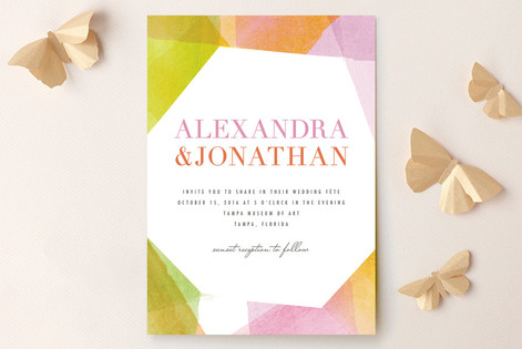 Geometric Watercolor Wedding Invitations by Citrus Press Co.