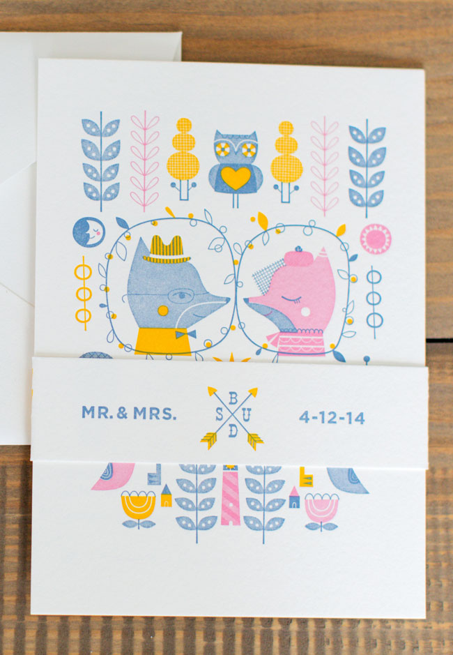 Adorable Fox Letterpress Wedding Invitations | Suzy Ultman (Design) + Igloo Letterpress (Printing)