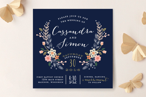 Wildflower Crest Wedding Invitations by Alethea and Ruth
