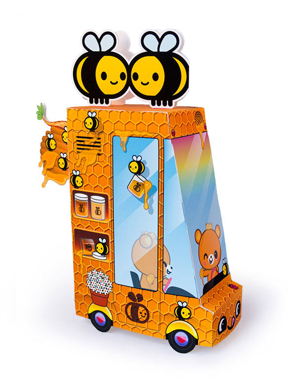 Free Printable Honey Food Truck Paper Toy   Dewmuffins