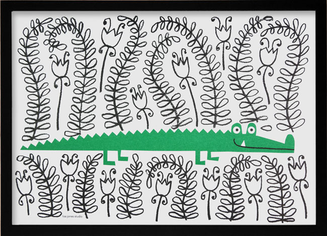 Crocodile Risograph | Lisa Jones