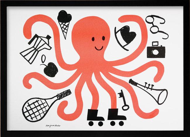 Octopus Risograph | Lisa Jones