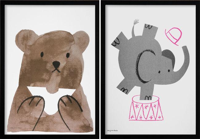 Bear & Elephant Risographs | Lisa Jones