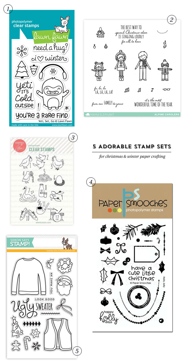5 Adorable Stamp Sets for Christmas and Winter #cardmaking #papercrafts