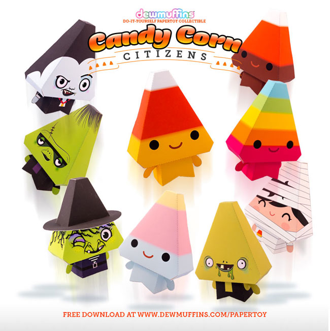 Kawaii Candy Corn Free Printable Paper Toys - Paper Crave