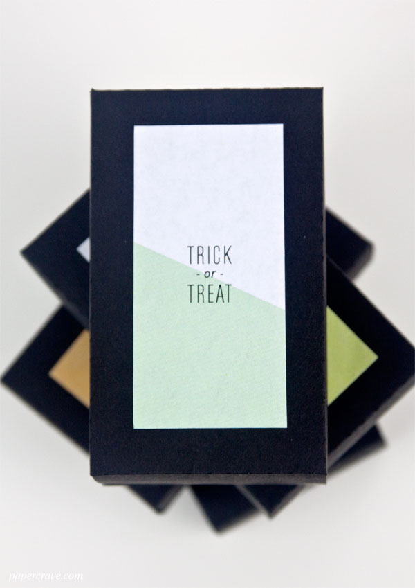Free Printable Color Block Trick or Treat Labels + Box Template (PDF & SVG Cut File Included) #halloween