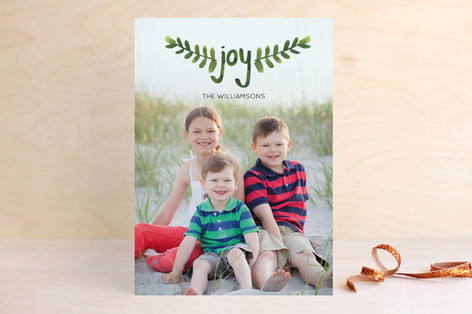 Hand-Painted Branches Holiday Photo Cards