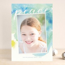 Peaceful Watercolor Holiday Photo Cards